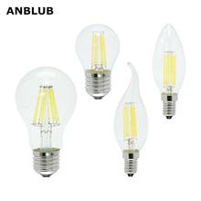 ANBLUB Ampoule E27 E14 AC 220V LED Filament Bulb Dimmable 2W 4W 6W 8W Retro Vintage Glass Edison Lamp Candle Light Chandelier