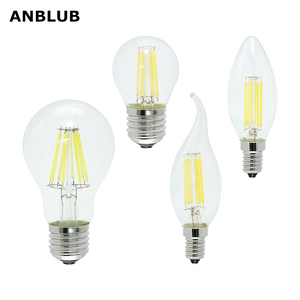 ANBLUB Ampoule E27 E14 AC 220V LED Filament Bulb Dimmable 2W 4W 6W 8W Retro Vintage Glass Edison Lamp Candle Light Chandelier