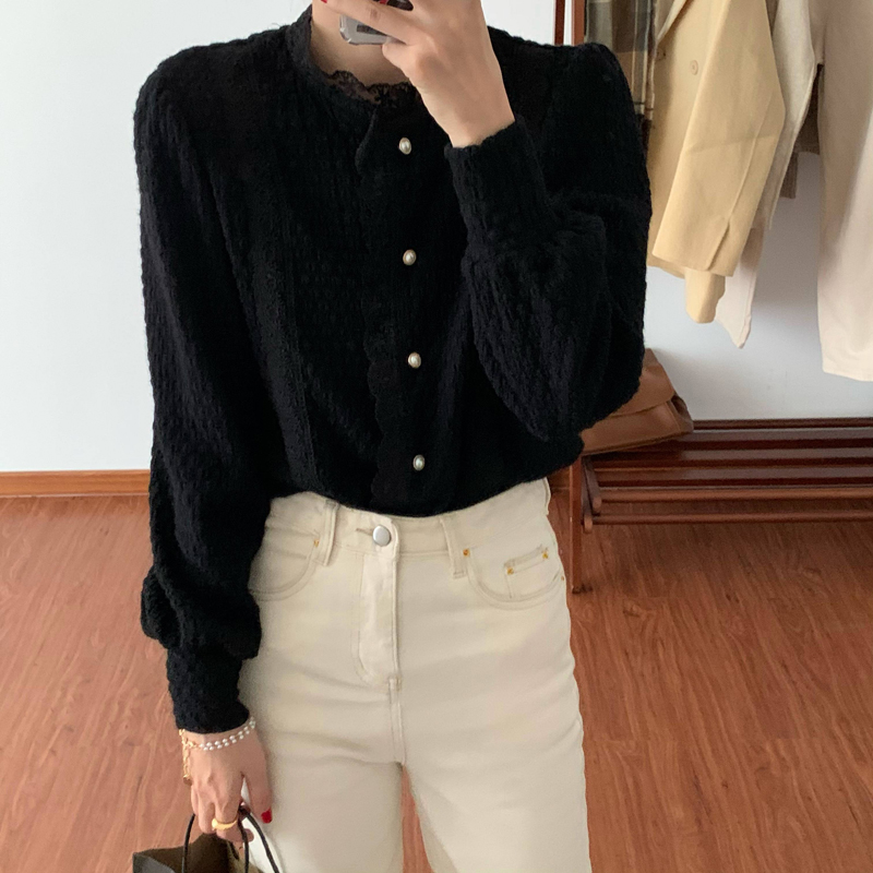 Hdabaea7236ff4e3b8a8587cb40a00e87v - Spring / Autumn O-Neck Long Sleeves Lace Buttons Blouse