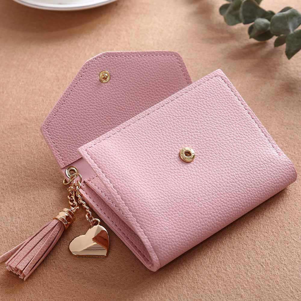 Portfele damskie portfele naiwności gwint portfel Tassel Pu skórzane portfele kobiet serce wisiorek Hasp portmonetka Mini torba # L10