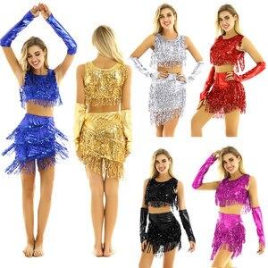 Image 2 - Womens Femme Sequine Tassels Tango Latin Skating Dance Costumes Crop Tops with Skirt Fingerless Gloves Figure Skating Dresses
