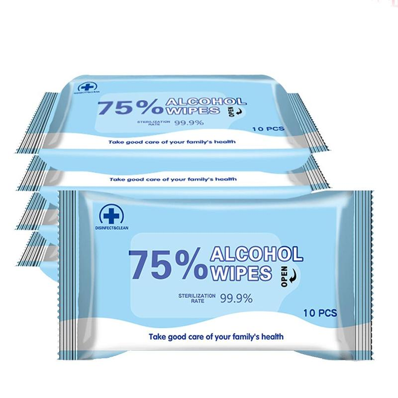 10Pcs/Bag 75% Alcohol Disinfection Wet Wipes Antiseptic Cleaning Sterilization Hand Care Cleaning Wet Wipes Health Care