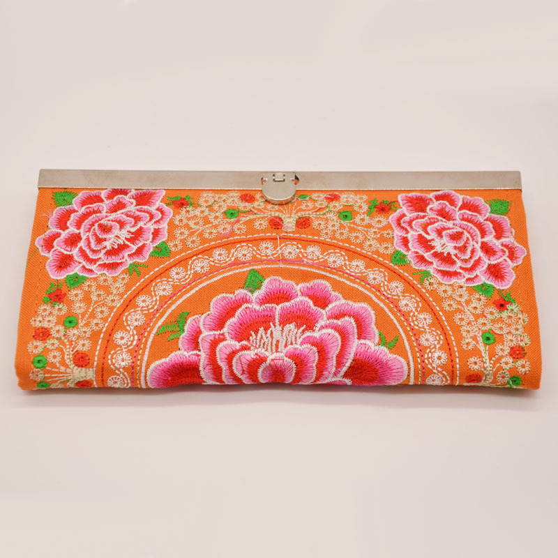 Chinese-style Nation Retro Double-Sided Embroidery Wallet Long Wallet Embroidered Canvas Carrying WOMEN'S Bag