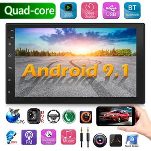 2 DIN Android 9.1 Car Stereo Multimedia Video Player GPS Navigation Bluetooth WiFi USB Radio Head Unit Driving Speed Display