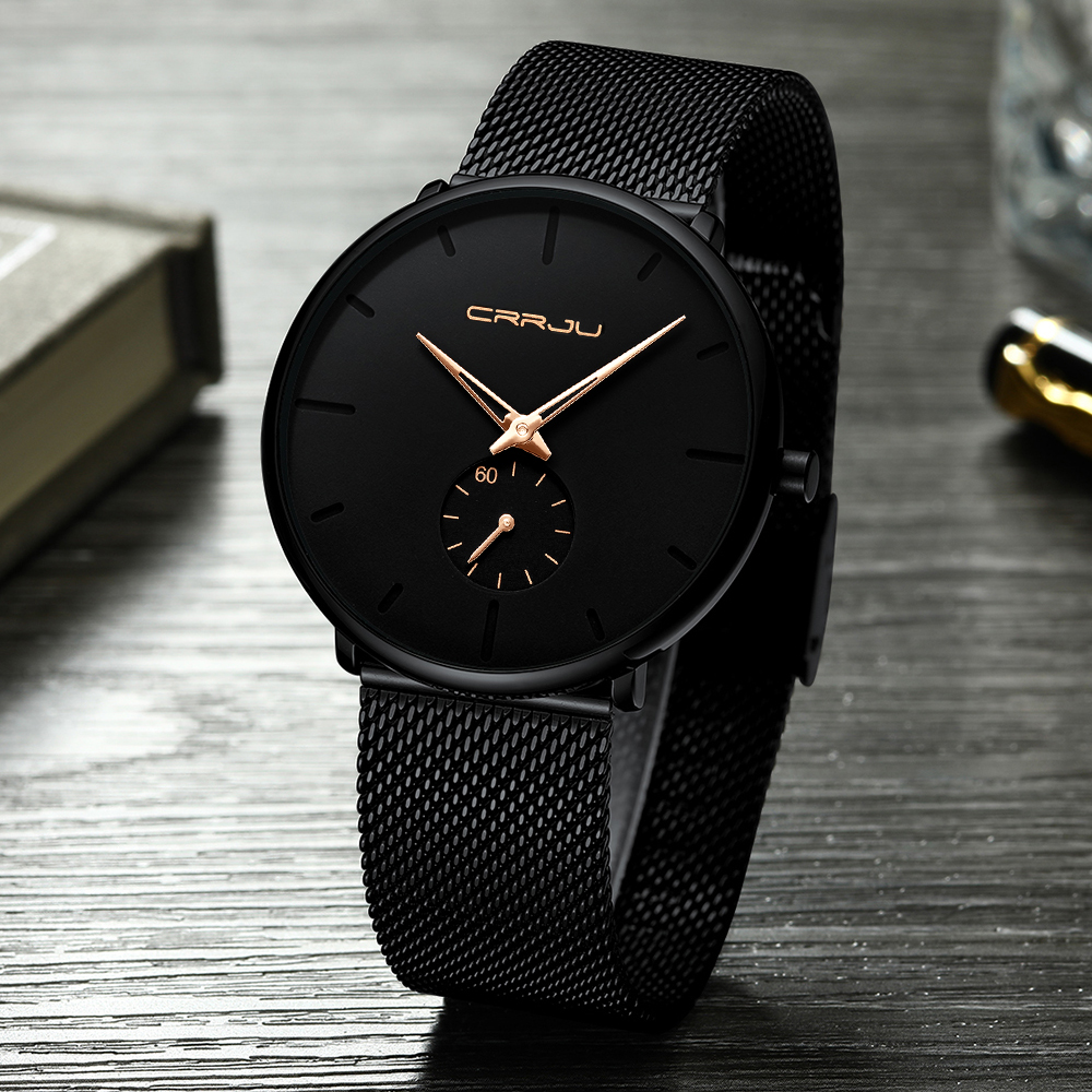 Hdabb13e7b6c6463a9bf1132d8c69ad5ev CRRJU Ultra Thin Blue Stainless steel Quartz Watches Men Simple Fashion Business Japan Wristwatch Clock Male Relogio Masculino