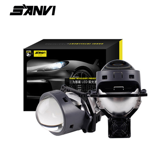 SANVI 2PC 3 Cal samochód Bi obiektyw LED projektora reflektor 55w 5500K Auto Ice lampa akcesoria do świateł samochodowych reflektor motocyklowy