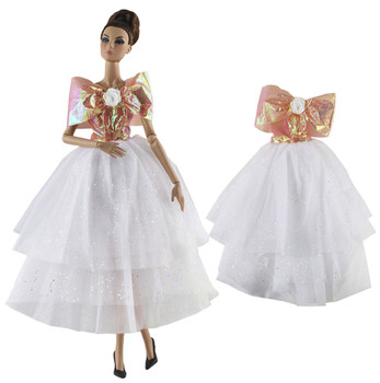 Fashion White Princess Dress Outfit Set for Barbie 1/6 30cm BJD FR Doll Clothes Accessories Play House Dressing Up Toys Gift fur coat dress outfit set for barbie 1 6 bjd sd doll clothes accessories play house dressing up costume