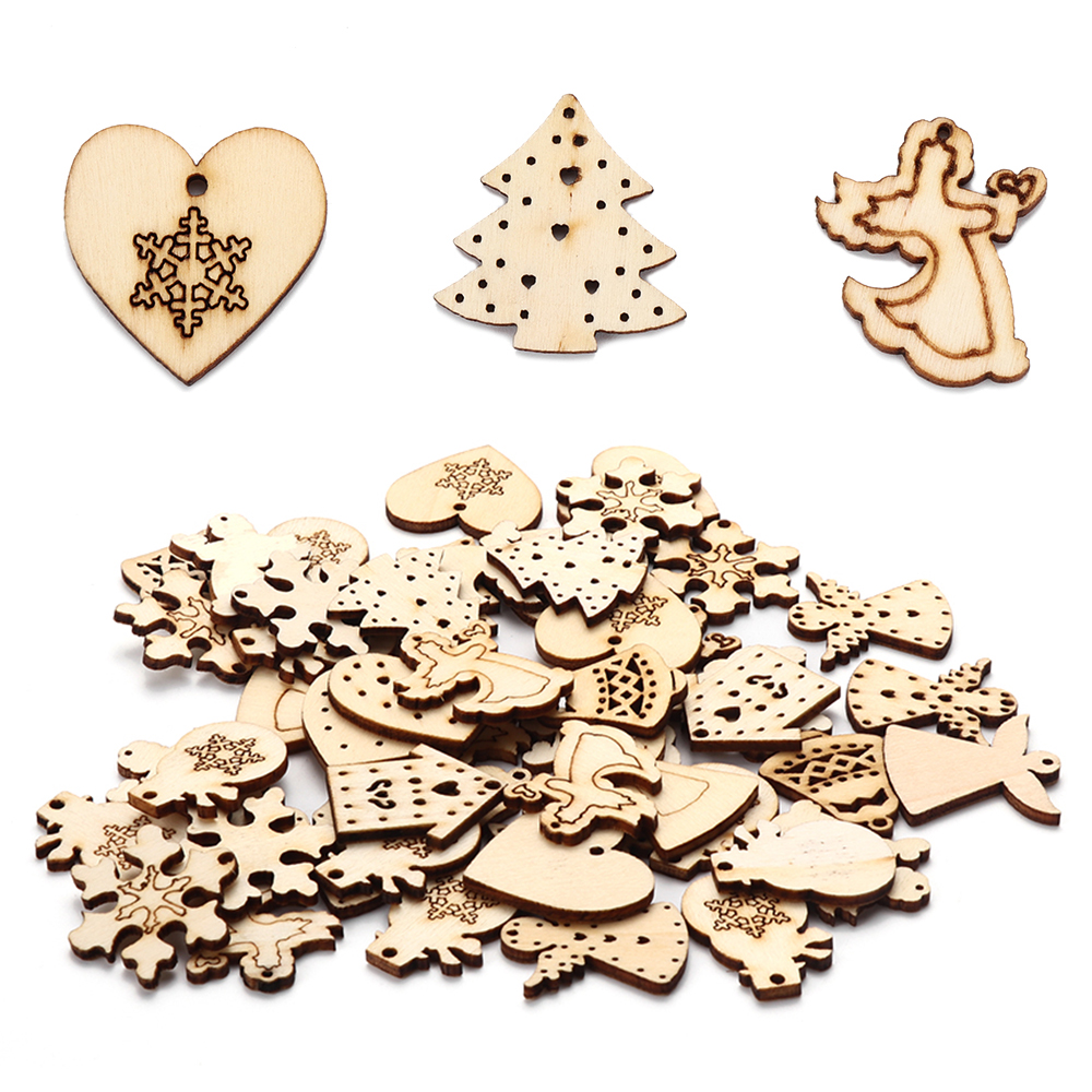 50pcs Christmas Wood Embellishments for Scrap-booking Card Decoration Crafts