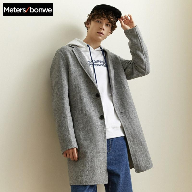 Metersbonwe Brand Men Hairy Coats Autumn Winter New Solid Color High Quality Fashion Men's Wool Coats