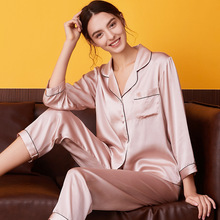 Silk Pajamas Couple Two-Piece Winter Women Summer Spring Home-Service Long-Sleeved Lady