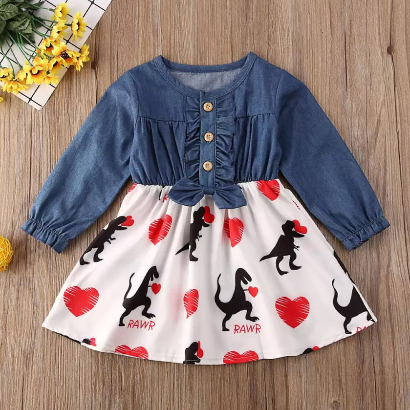 2020 New Toddler Kids Clothes Baby Girls Dinosaur Print Denim Dress Children Princess Party Set Infant Buttons Valentine Outfits