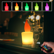 Flameless LED Candle Light Battery Powered Lamp Simulation Color Flame Flashing Home Wedding Birthday Party Decoration Candles недорого