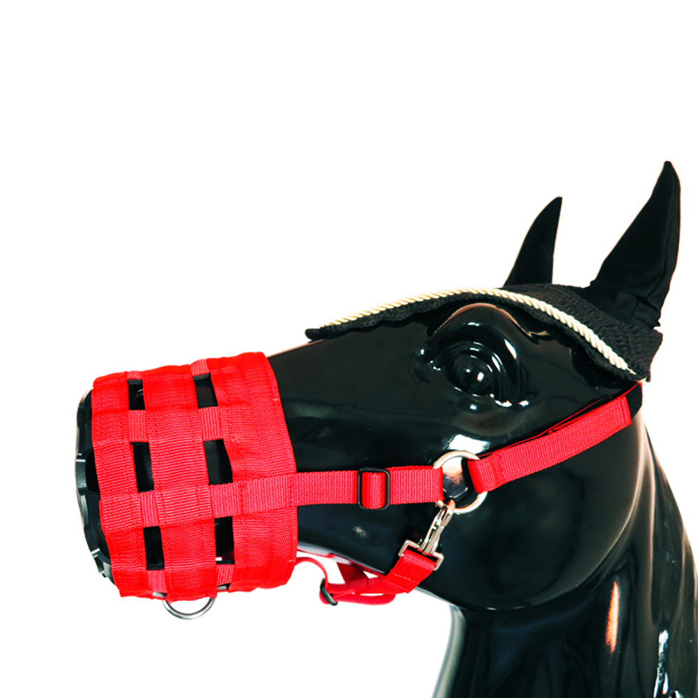 Horse Mouth Cover Nylon Easy Breathe Equestrian Equipment Grazing Muzzle Thickened Outdoor Multi Holes Anti Bite Pasture Safety