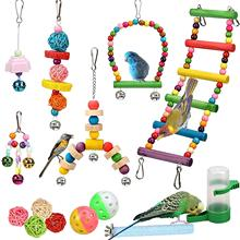 14 Pcs Parrots Toys Bird Accessories Pet Toy Swing Stand Budgie Parakeet Cage Water Feeder