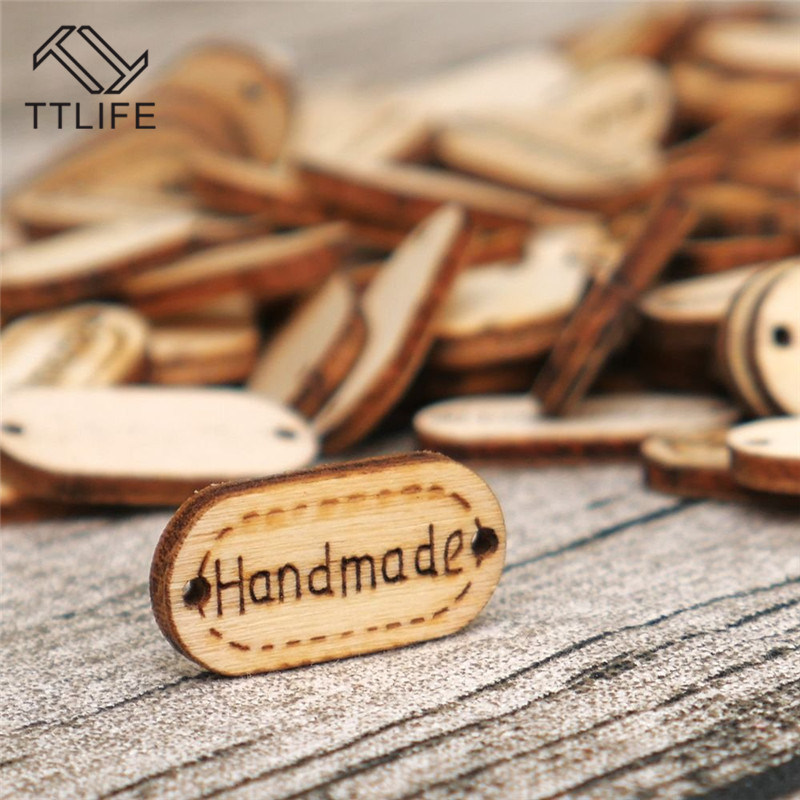 TTLIFE 100Pcs Natural Wood Handmade Tag Label Crafts Decoration 2-hole Letter Copy Button Sewing Wooden Label New Ornaments
