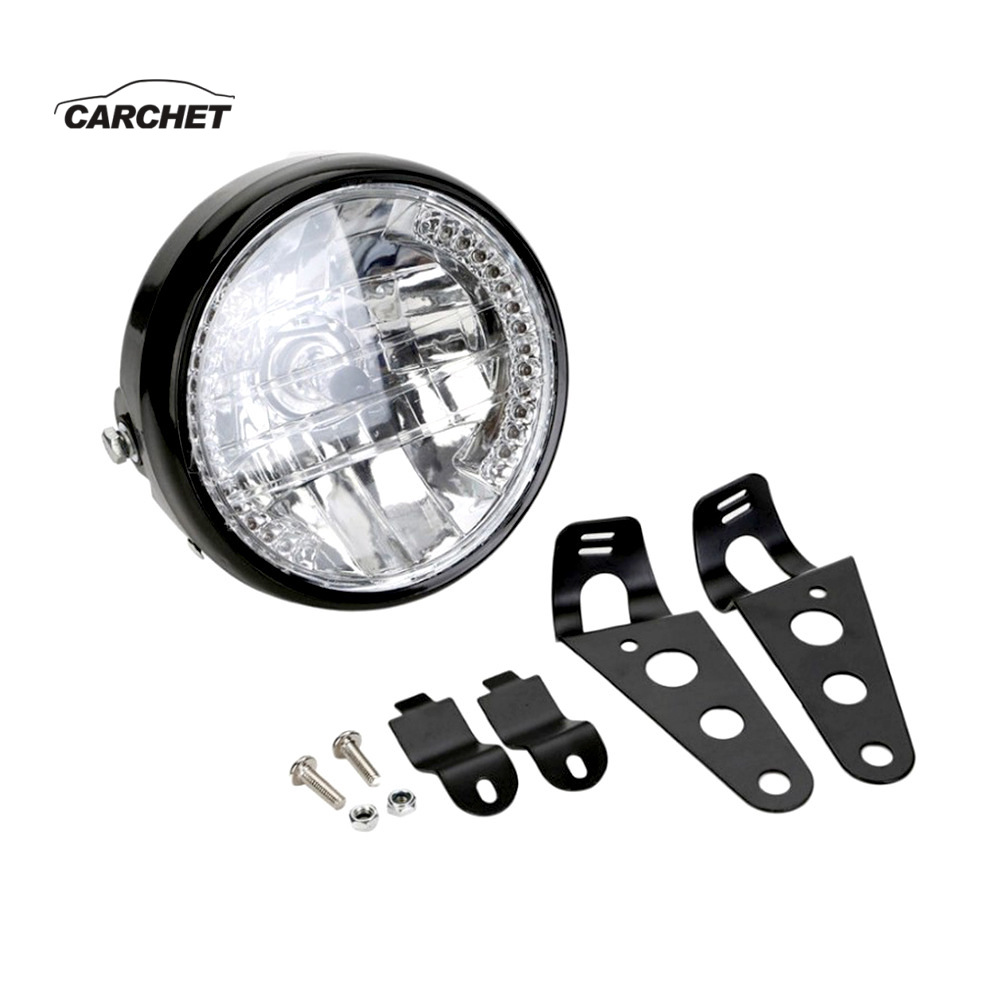 CARCHET 12V Motorcycle Round Headlight Turn Signal Light Headlamp For Harley Bobber Honda Yamaha Kawasaki Cafe Racer Moto Parts