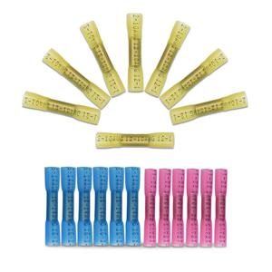 10pcs Heat Shrink Insulated Sleeve Waterproof Seal Butt Solder Crimp Terminals Connector Electrical Wiring Connection 0.25-6mm²