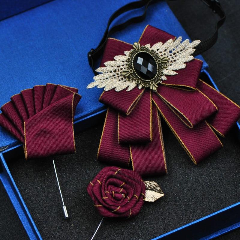 British Stlye Fabric Rhinestone Bow Ties Bridal Groom Bridesman Bowtie Wedding Tie Pocket Square Set Gift For Men Accessories