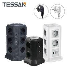 TESSAN EU Power Streifen Turm mit 6 AC Outlets + 4 USB Ladegerät Adapter Verlängerung Steckdose Für ladegerät EU stecker