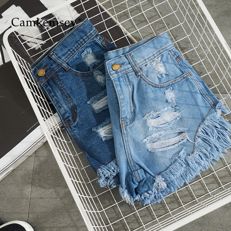 CamKemsey Basic Summer Denim Shorts Women Fashion Ripped Holes Cuffed Casual High Waist Blue Jeans Hot Shorts