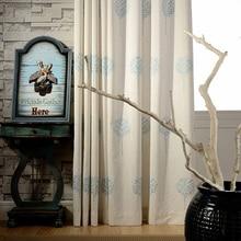 Living Room Linen  Embroidered Curtains Blackout For Bedroom Floral Blinds Drapes Window Beige Desgin