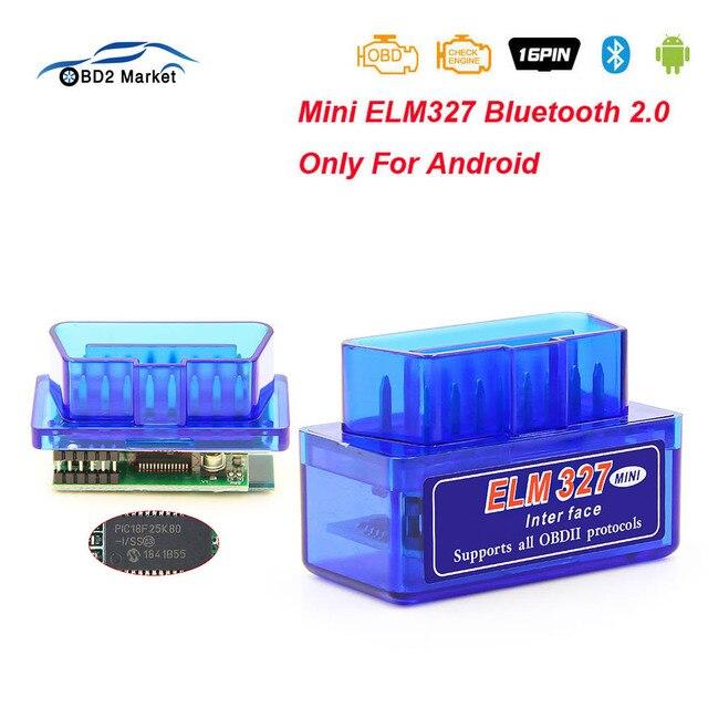 MINI ELM327 V1.5 PIC18F25K80 OBD2 Bluetooth Scanner ELM 327 V 1 5 Diagnostic adapter scan tool OBD 2 OBDII Code reader For ATAL 1