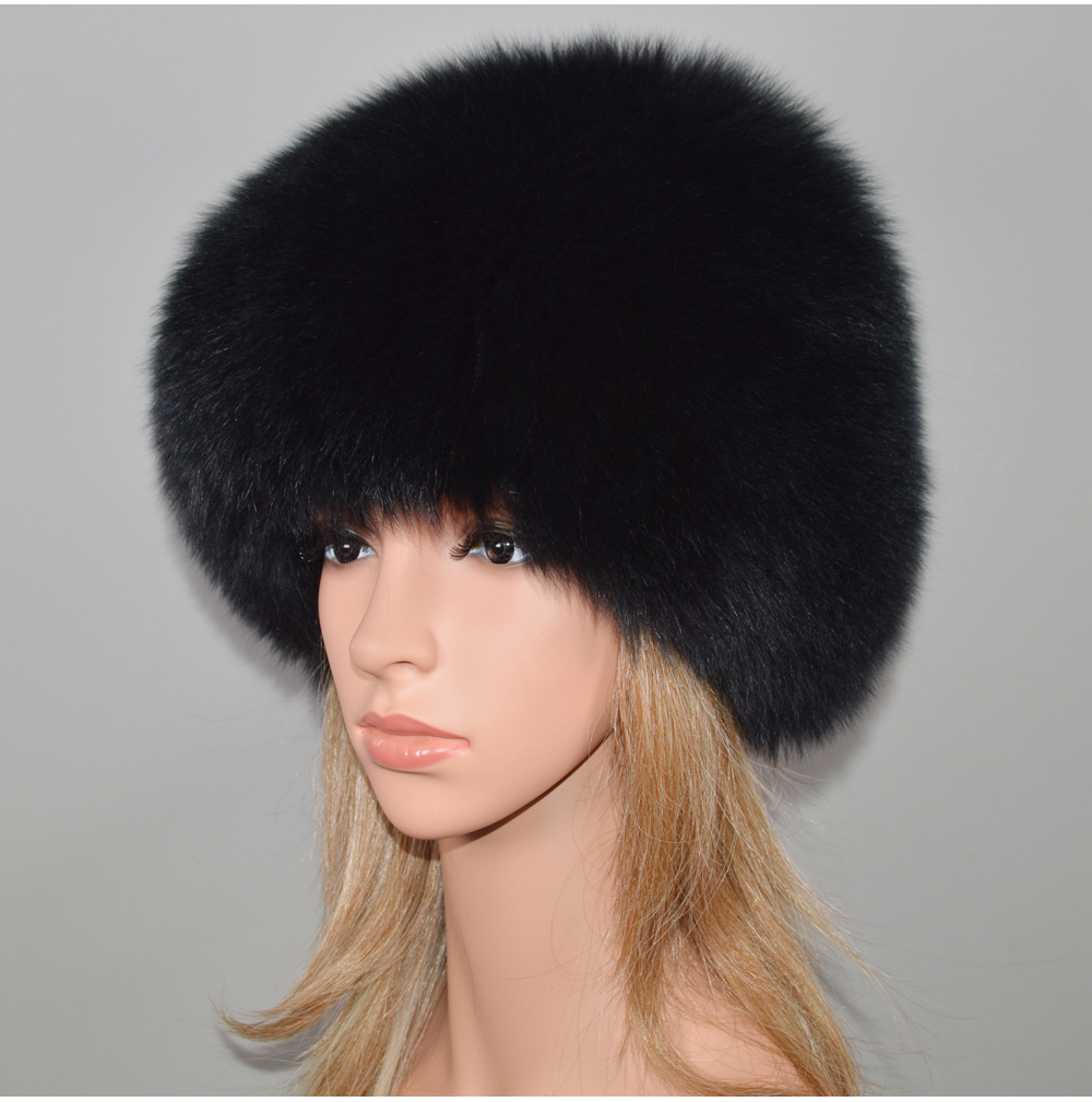 Hdabc4f4fb40b499da9ffa47feb4391ea2 - New Luxury 100% Natural Real Fox Fur Hat Women Winter Knitted Real Fox Fur Bomber Cap Girls Warm Soft Fox Fur Beanies Hats