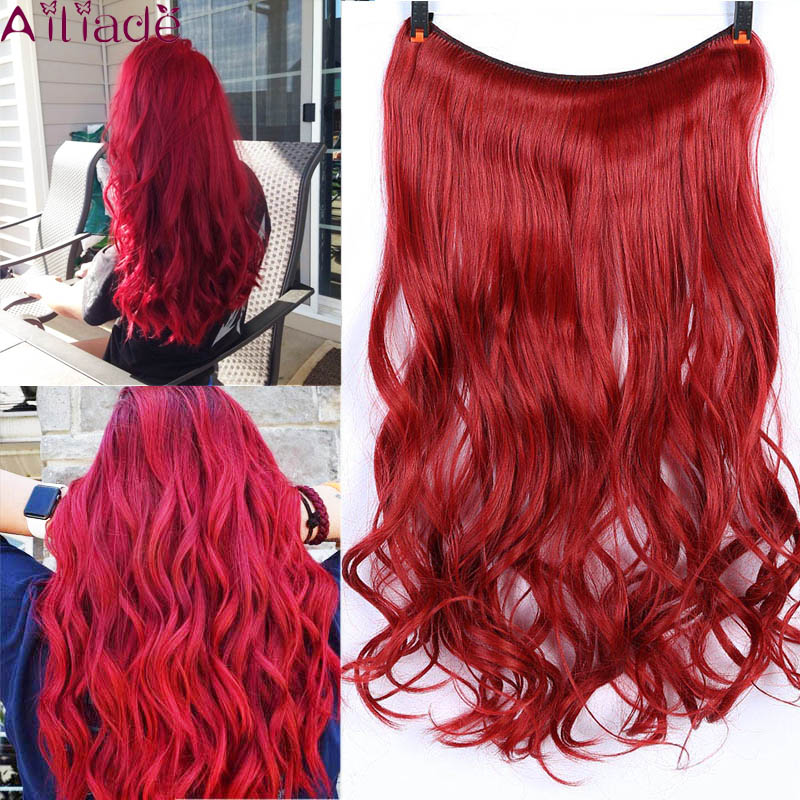 AILIADE 22 Inches Long Synthetic Hair Heat Resistant Hairpiece Fish Line Red Wavy Hair Extensions Secret Invisible Hairpieces