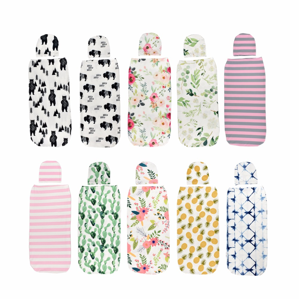 2 Pcs/Set Baby Swaddle Blanket +Cap Newborn Cocoon Wrap Cotton Swaddling Bag Sack Bedding