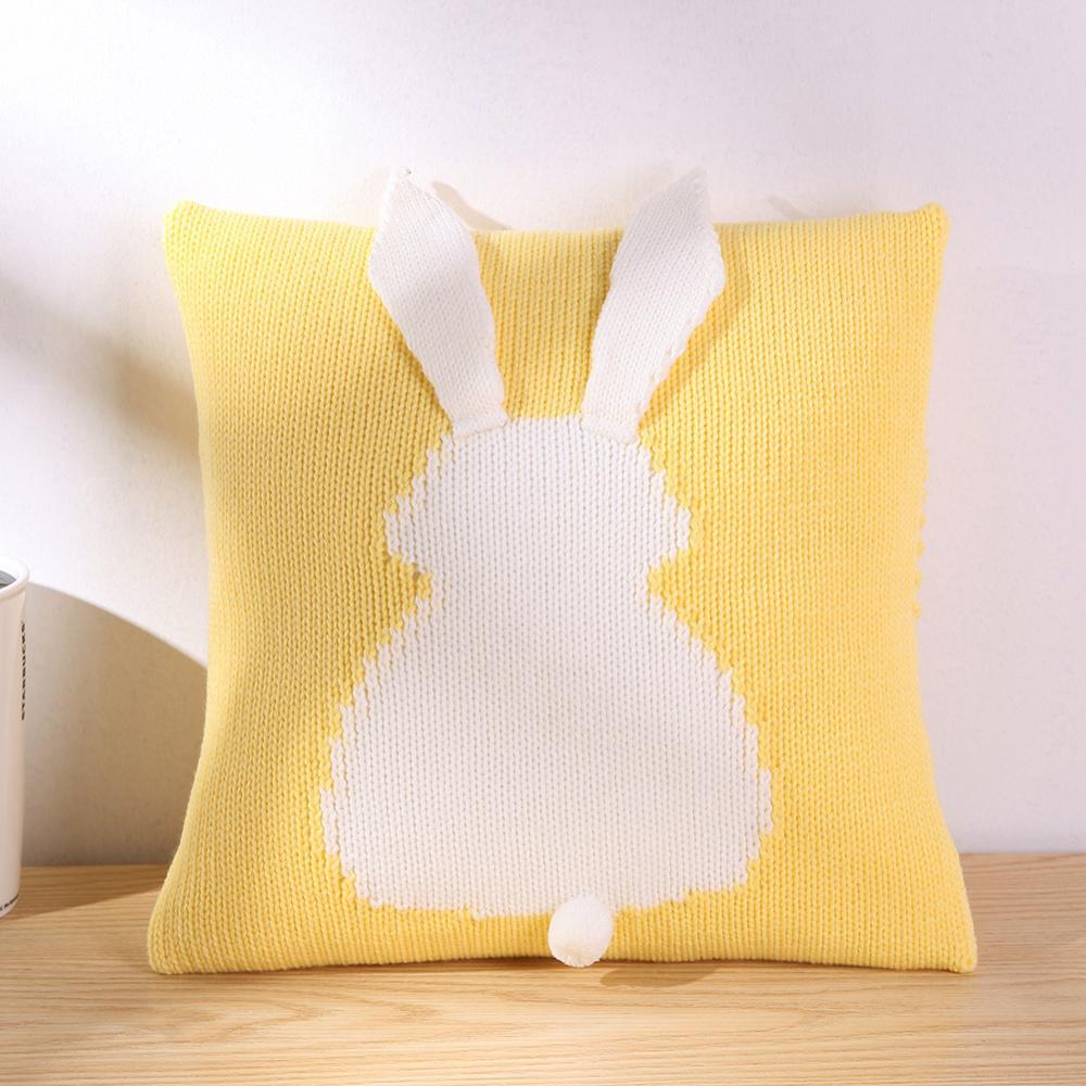 Belle bande dessinée 3D lapin enfants chaise siège housse de coussin bébé tricoté canapé-lit taie d'oreiller décorative accessoires de photographie bébé oreiller