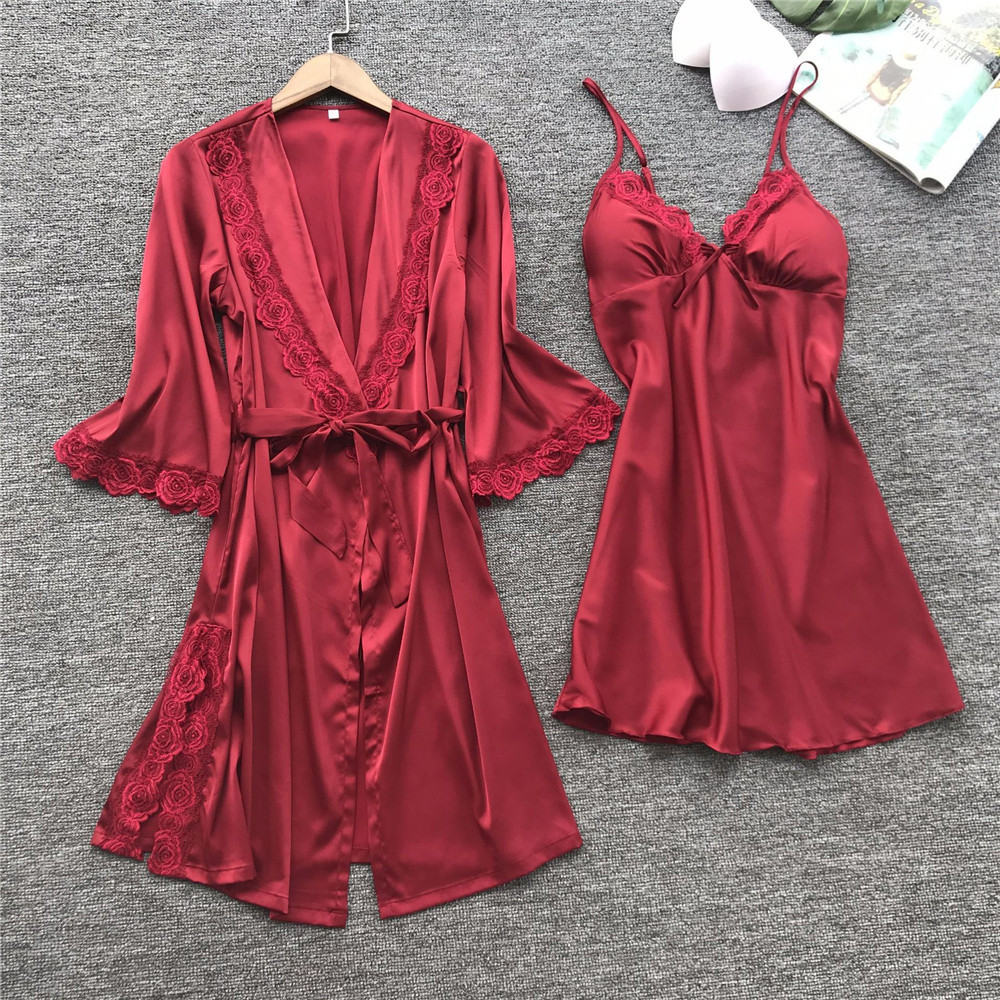 Robe De Nuit Femme Gown Set Women Fashion Sexy Sleepwear Lingerie Lace Temptation Belt Underwear Nightdress Seamless Solid Sets