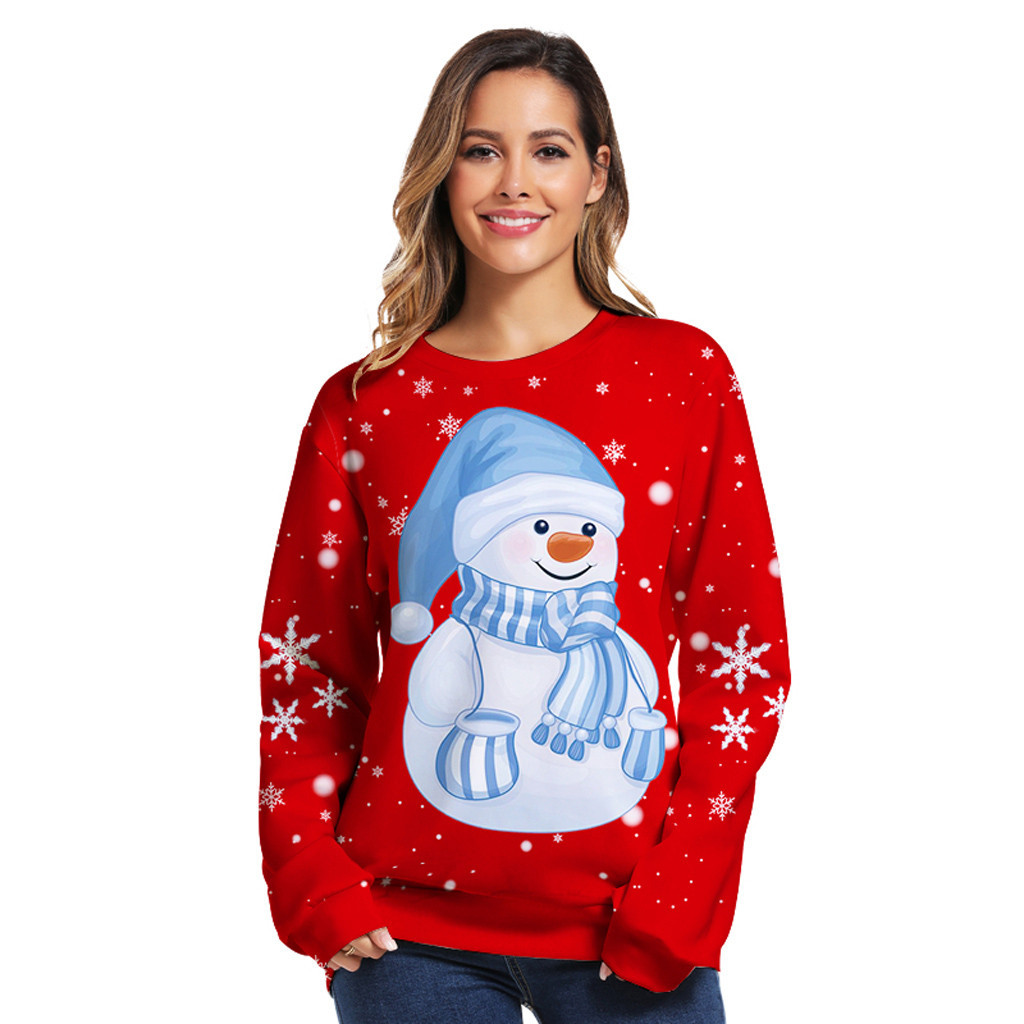 Christmas 3D digital print pullover Christmas new round neck long sleeve loose large size couple #40