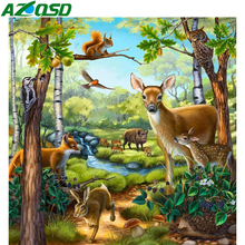 AZQSD Diamond Painting Deer Cross Stitch 5d Diamond Embroidery Forest Animal Full Square Drill Home Decor Gift Handmade