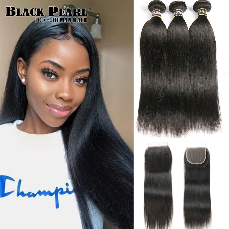 Black Pearl Pre-Colored 3 Bundles With Closure Straight Human Hair Bundles With Closure Brazilian Hair Weave Bundles Remy Hair