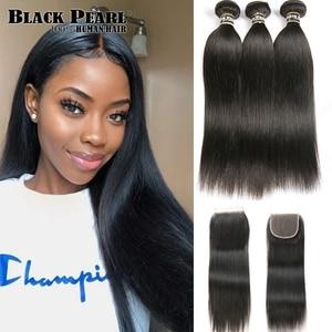 Image 1 - Black Pearl Pre Colored 3 Bundles with Closure Straight Human Hair Bundles with Closure Brazilian Hair Weave Bundles Remy Hair