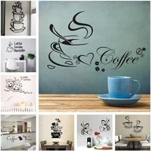 DIY Coffee Cup Wall Sticker Removable Decal Vinyl Art Mural Living-Room Dining-Room Kitchen Restaurant Home Decor Multi Styles romantic lovers wall sticker paris letters decal vinyl art mural diy home beddroom decor removable