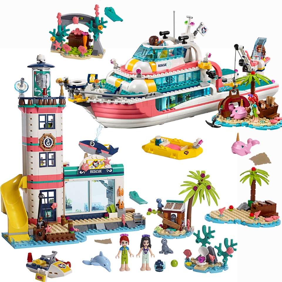 2020 New Friends Girl Lepining Friends Lighthouse Dolphin Rescue Center Building Block Friends 41380 Brick Toys Girls Toys