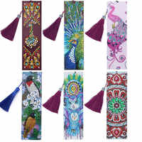 Diamond Painting Bookmark 5D DIY Special Shaped Diamond Art Mosaic Leather Tassel Book Marks Diamond Embroidery Cross Stitch