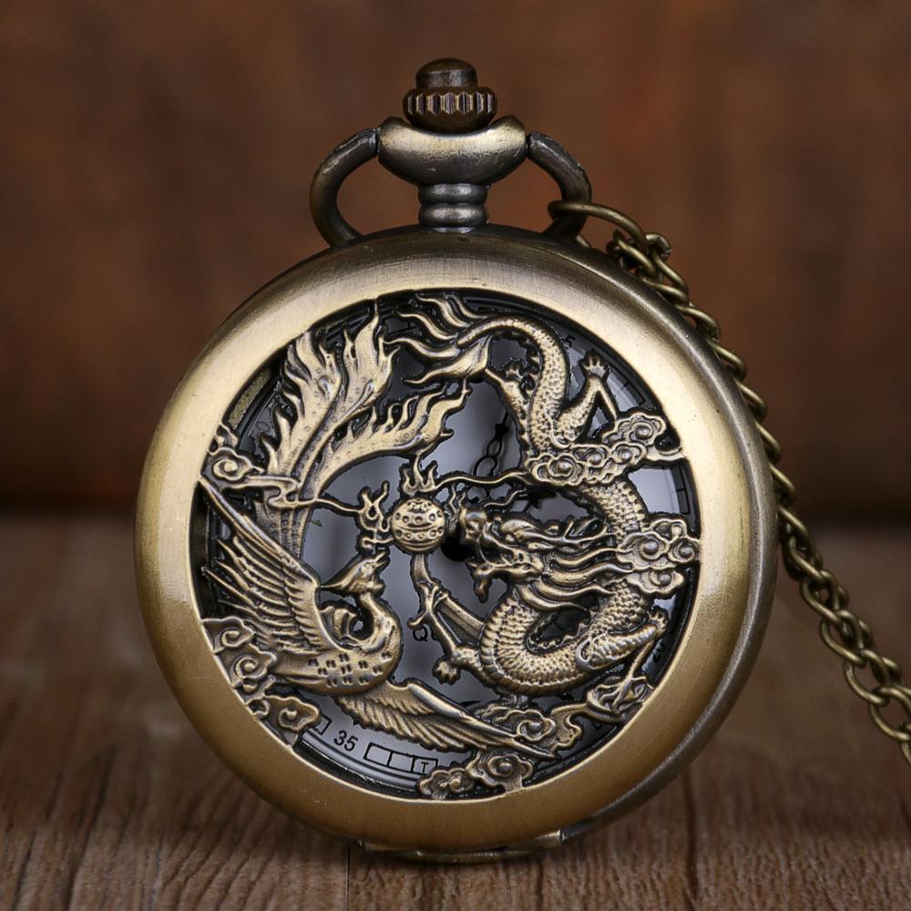 Vintage Ancient China Style Dragon Phoenix Design Pocket Watch Quartz Watches Necklace Chain Women Men Gift Relogio De Bolso