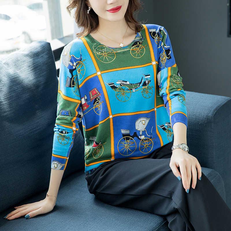หลวมเสื้อกันหนาว Pullovers ผู้หญิงแขนยาวฤดูใบไม้ร่วงฤดูหนาว Carriage พิมพ์เสื้อกันหนาวแฟชั่นสบายถักเสื้อกันหนาว
