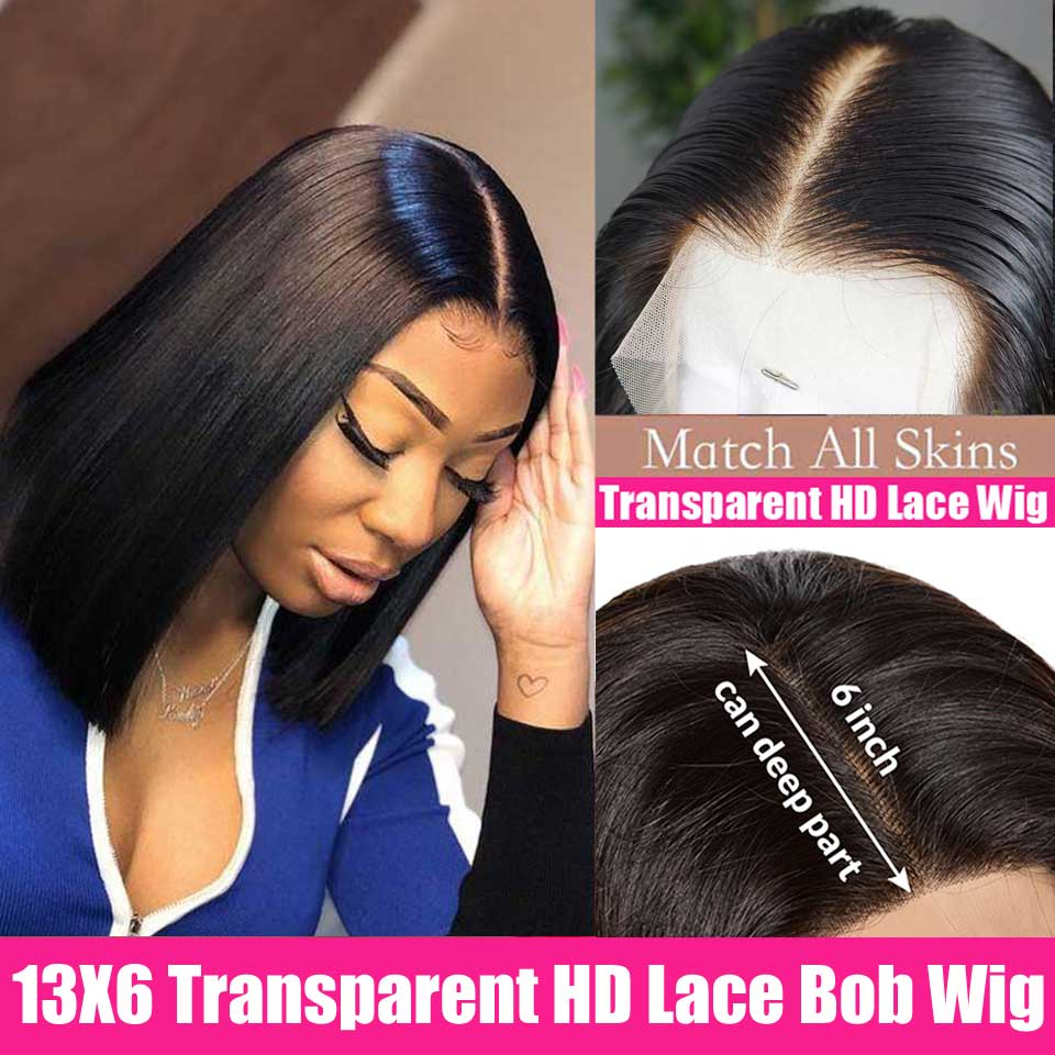 13X6 Transparent Short Lace Front Human Hair Wigs Brazilian Bob Wig Straight Frontal Wig Pre Plucked Hairline For Black Women