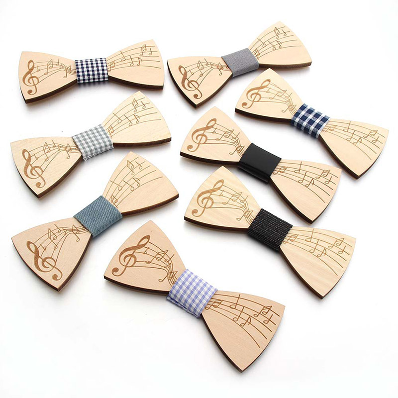 Fashion Wooden Bowtie Gentleman Note Pattern Bow Ties Party Butterfly Wooden Chic Bow Ties For Man Accessories