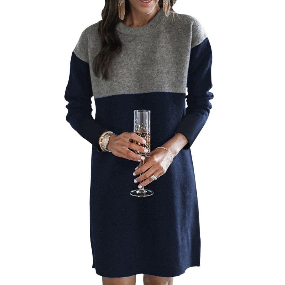 Women Autumn Dress Long Sleeve Stripe Patchwork O-neck Mini Dress Fashion Clothing Loose Casual Autumn Winter Vestido 10