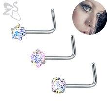 Anneaux de Nez en strass multicolores, barre de perçage du Nez chirurgical en acier, crochets en cristal, Piercing du Nez, broche, bijoux pour femmes