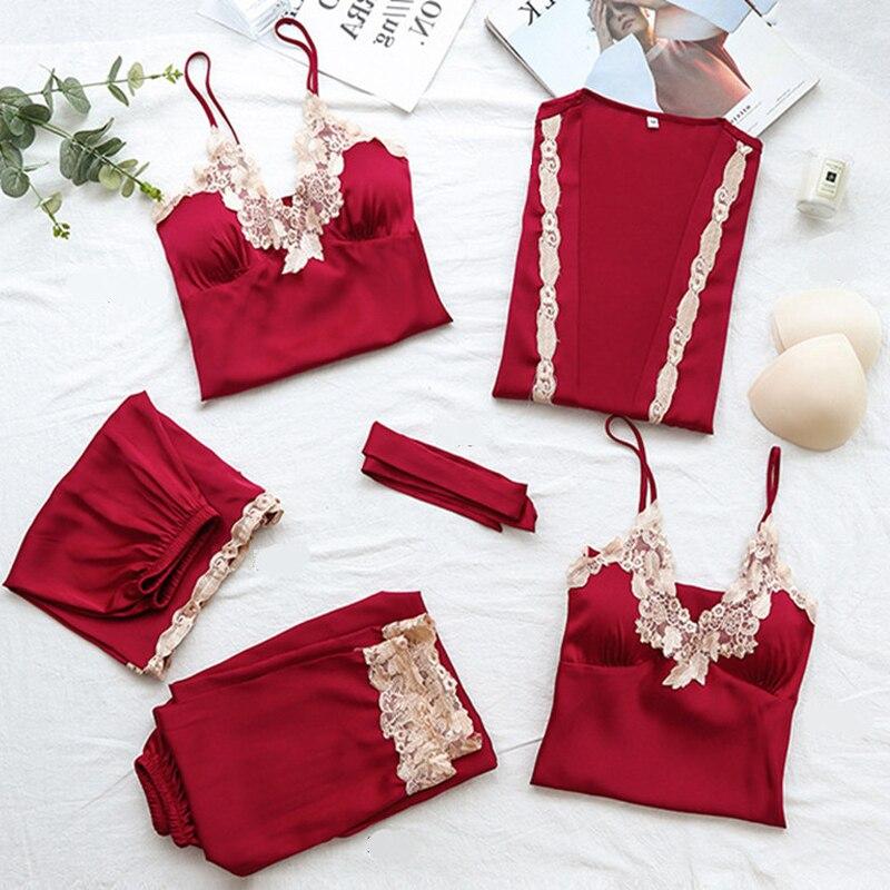 Женский пижамный комплект, 5 шт., шелковая пижама для женщин на лето и весну
