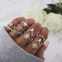Anel conjunto com strass coroa combinação anéis conjuntos 10 peças conjunto para presentes femininos liga de zinco jóias para o sexo feminino