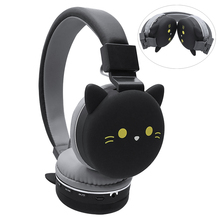 Wireless Bluetooth Cute Cat Ear Headphones For Kids Girl Foldable Stereo Head Mounted Headset With Microphone Support NFC august ep640b bluetooth wireless headphones with microphone nfc over ear bt4 1 hifi stereo aptx headset for 2 bluetooth devices