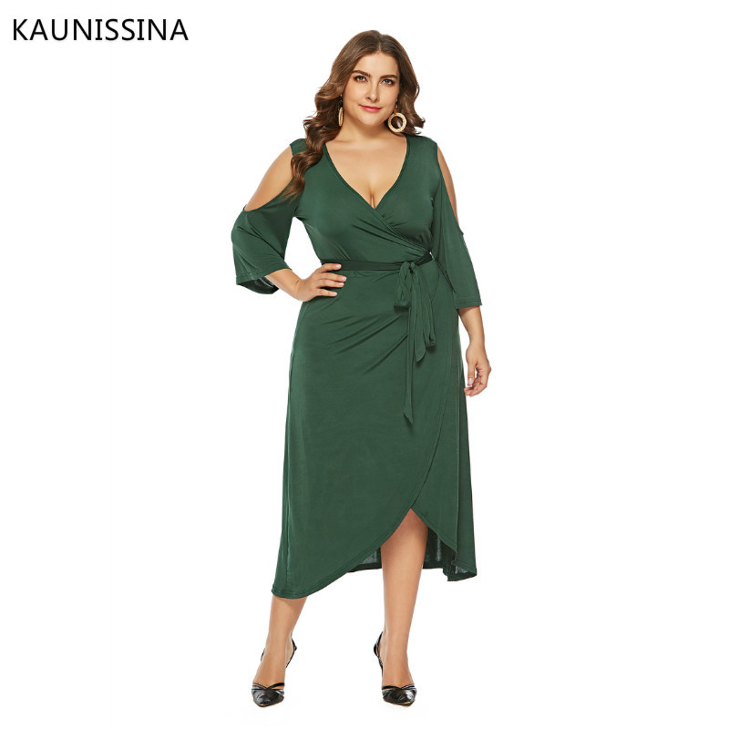 KAUNISSINA Plus Size Party Gown Women Cocktail Dresses Fashion V-neck Dress Formal Robe Homecoming Dress