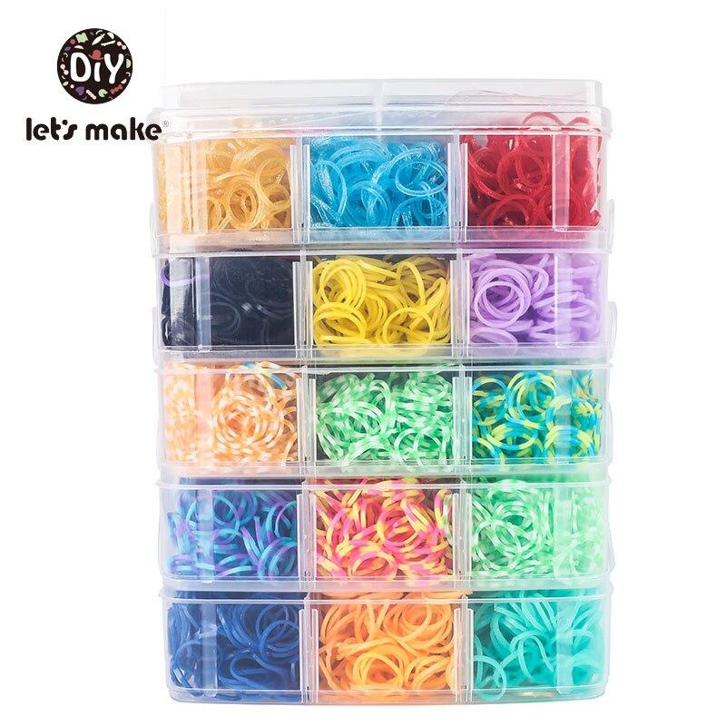 7200pc DIY Toys Rubber Loom Bands Set Kid DIY Bracelet Silicone Rubber Bands Elastic Rainbow Weave Loom Bands Toy Let's Make