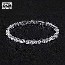 DNSCHIC  4mm Iced Out Tennis Bracelet 925 Sterling Silver Chain Single Row Bling Tennis Chain for Men Women Hip Hop Jewelry